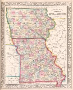County map of the States of Iowa and Missouri 1863 map