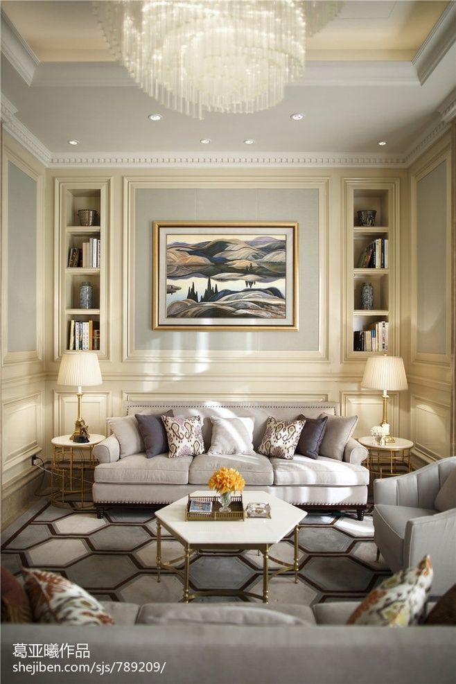 Transitional design, modern furnishings, abstract art, patterned rug ...