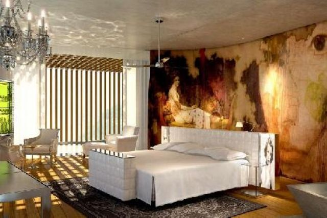 bedroom, designed by Philippe Starck and Jean Michel Gathy.