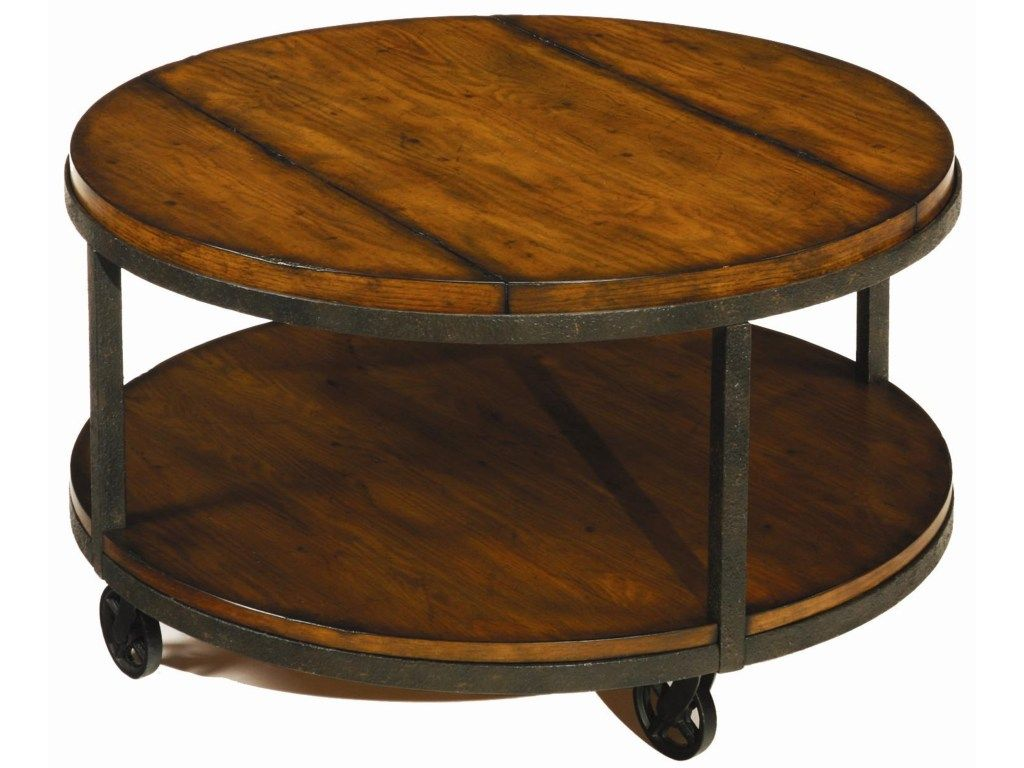 Baja Round Cocktail Table With Shelf And Wheels By Hammary At Sheely S Furniture Appliance Coffee Table With Wheels Coffee Table Wood Coffee Table [ 768 x 1024 Pixel ]
