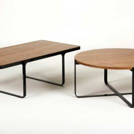 naughtone trace coffee tables Walnut and black steel Contemporary