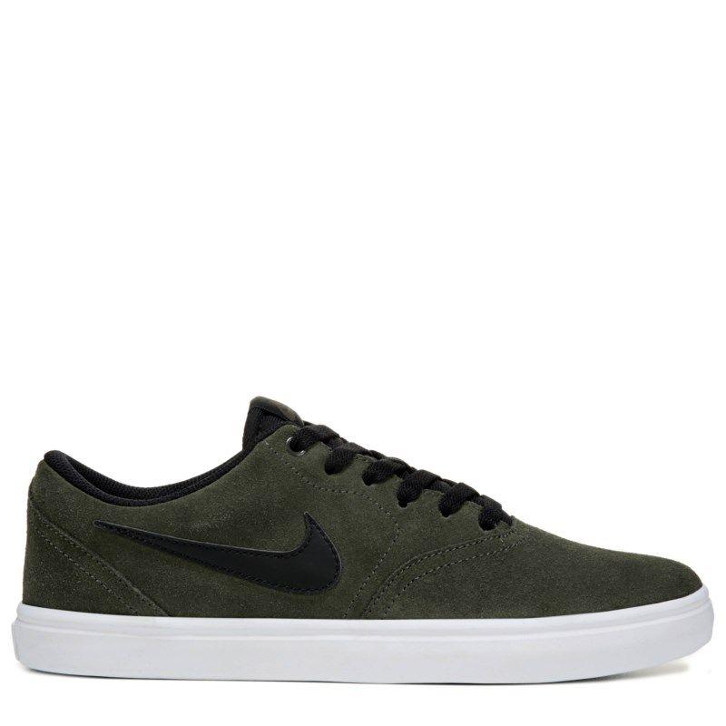 Nike Men's Nike SB Check Solar Suede Skate Shoes (Khaki/Black) - 12.0