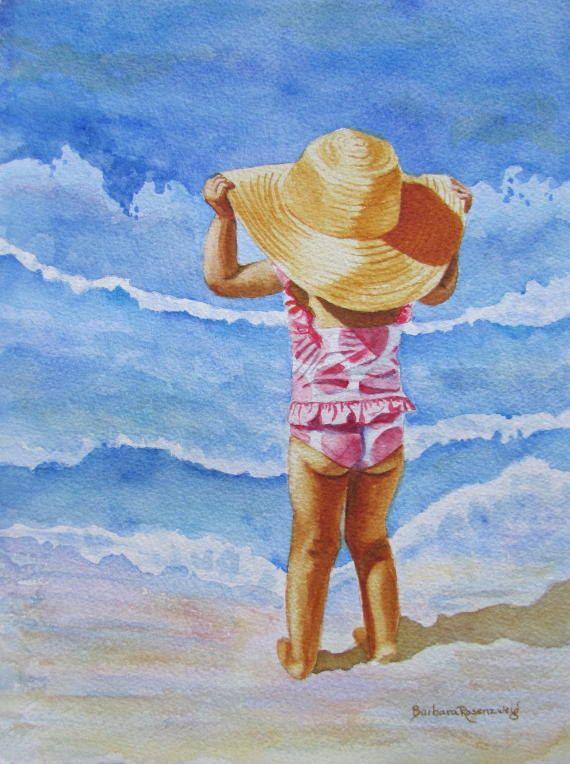 Beach Girl Polka Dots Big Hat Nursery Art Print Florida