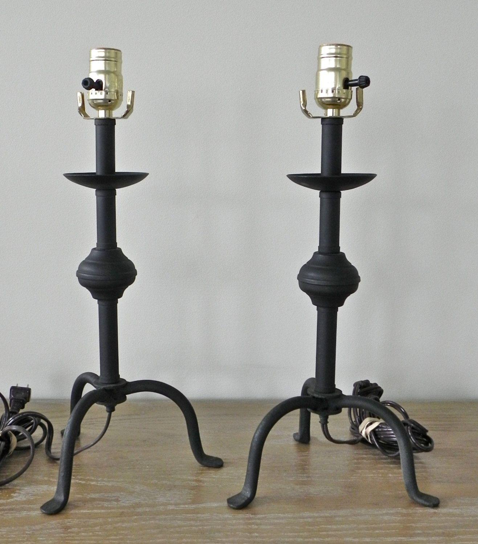 Vintage Primitive Lighting Table Lamp Wrought Iron Steel