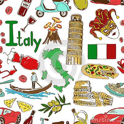 Modelo Inconsutil De Italia Del Bosquejo Bandera De Italia Ilustracion Viajes Italia