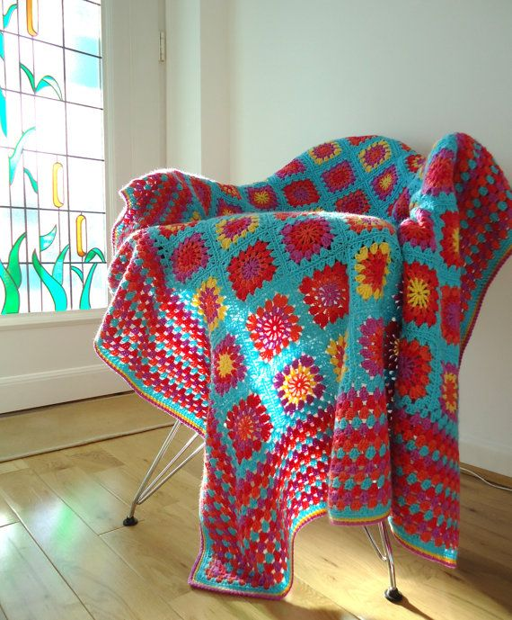 Turquoise granny square blanket afghan by dollydaydreaming on Etsy and ravelry