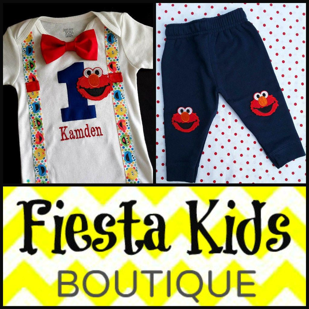 Baby boy first birthday outfit elmo shirt and pants in