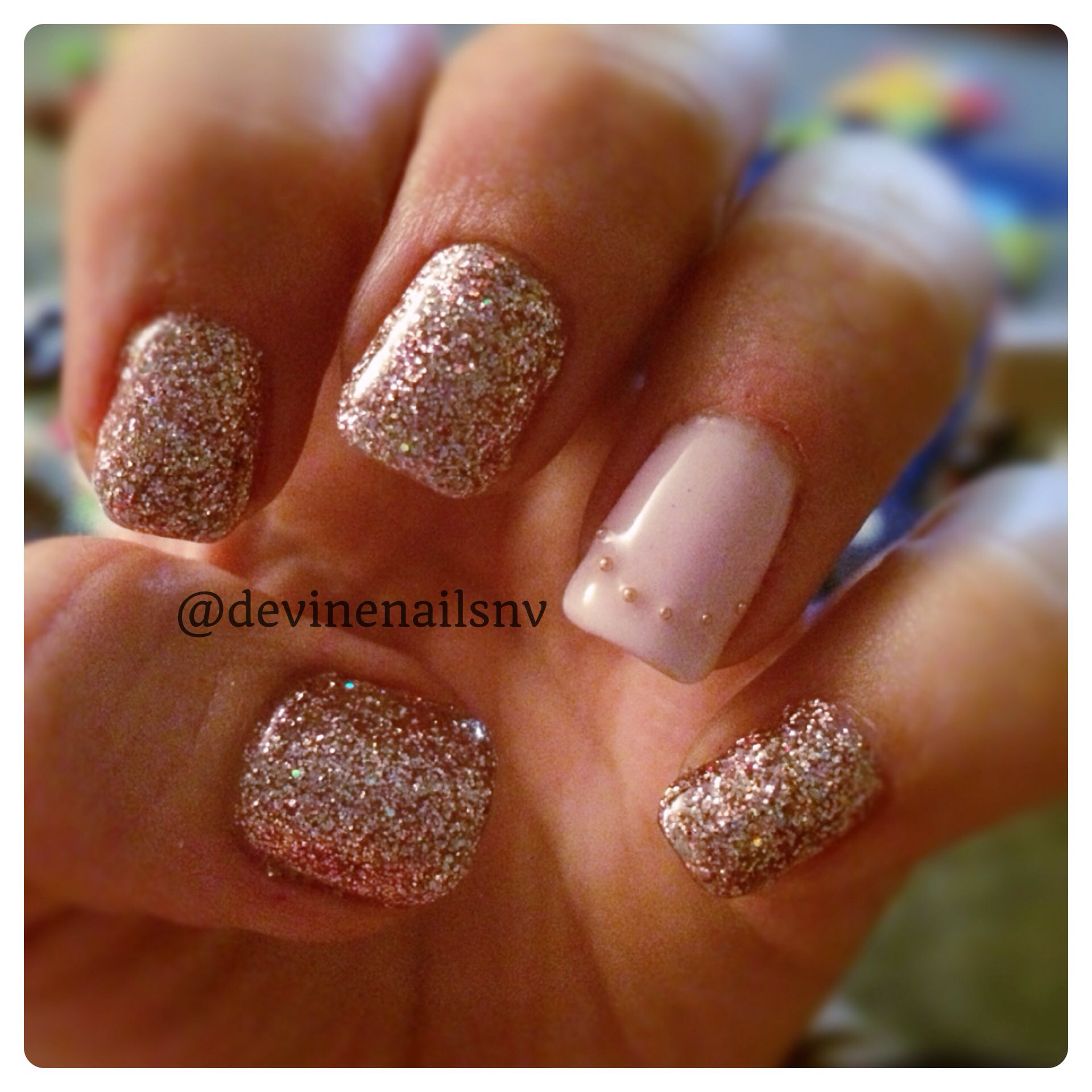 Champagne glitter and nude pink accent nail with gold bead caviar ...