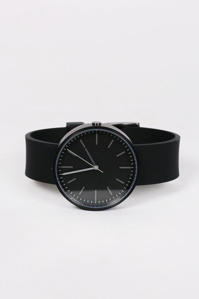 Uniform Wares, 104 Series Wristwatch, process black/black rubber http://www.goodasgold.co.nz/collections/uniform-wares