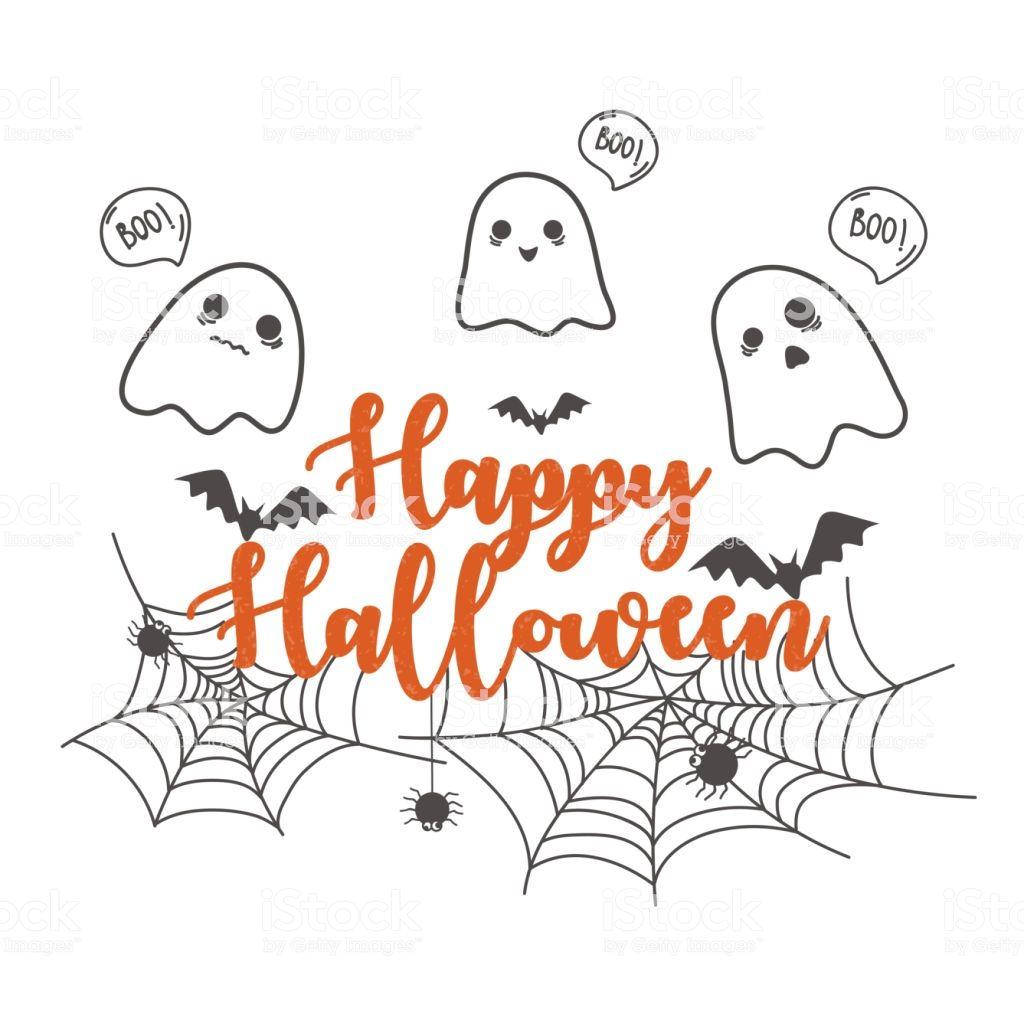 Happy Halloween Banner Design Template Cute Cartoon Spooky And Halloween Greetings Happy Halloween Banner Halloween Greeting Card
