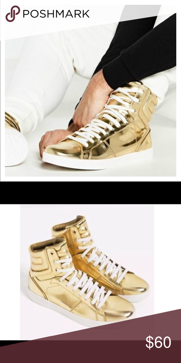 Zara Gold High Top Sneakers | Gold high