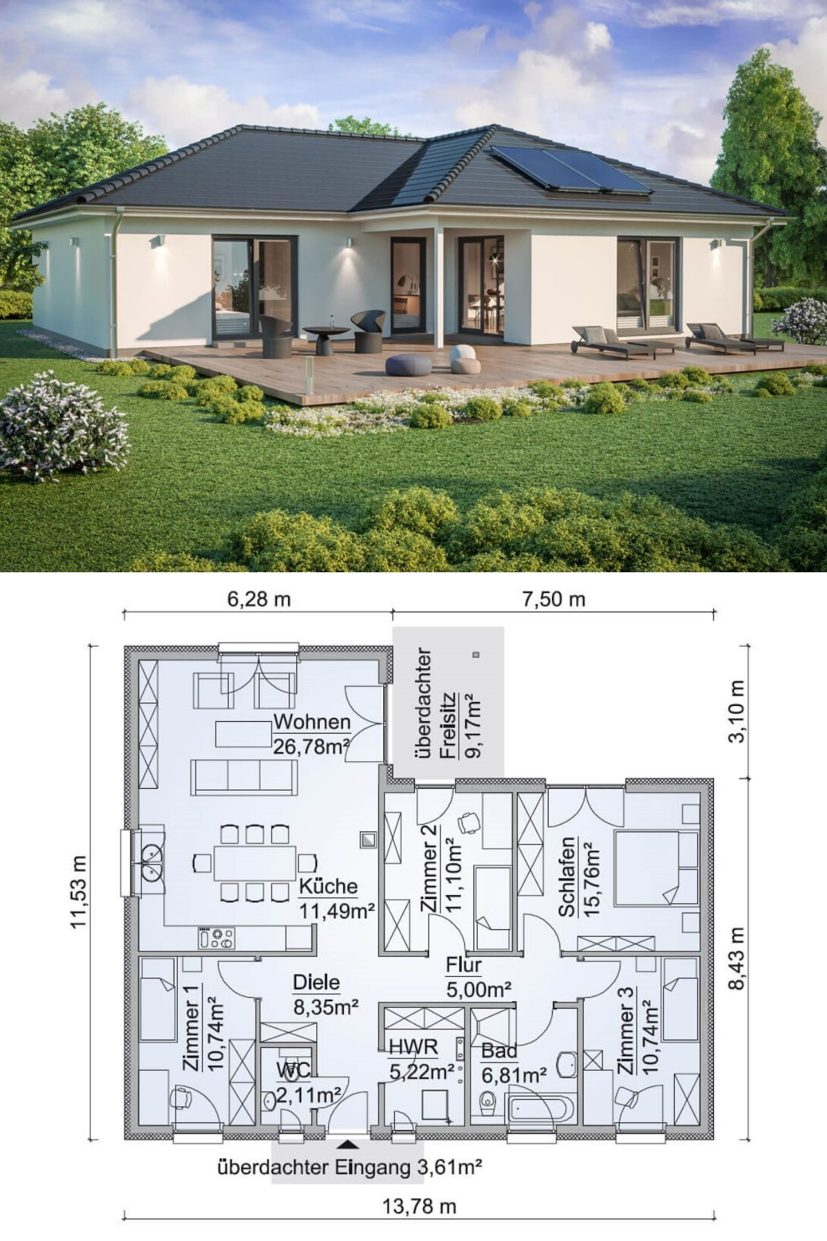 Bungalow SH 115 WB XXL variant B  ScanHaus Marlow  direct construction  Bungalow house modern floor plan with hipped roof architecture  5 rooms  corner bungalow build