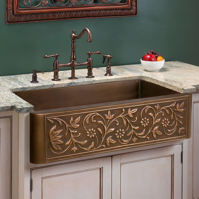 25 Vine Design Copper Farmhouse Sink Copper Farmhouse Sinks Farmhouse Sink Kitchen Home