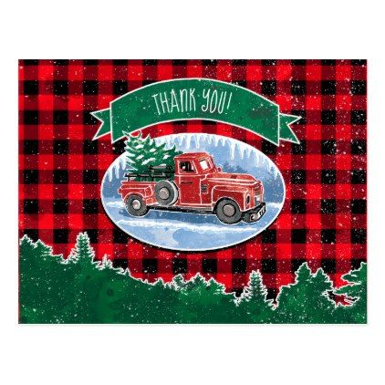 Merry Christmas Vintage Truck Thank You Postcard