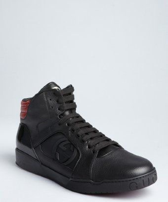 4f28b3b5130 Gucci  black leather and snakeskin GG high top sneakers