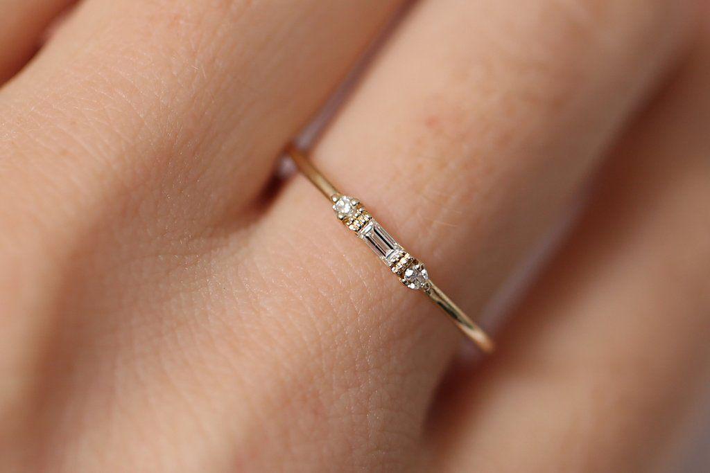 14k Gold Baguette and Round Diamond Ring #diamondrings