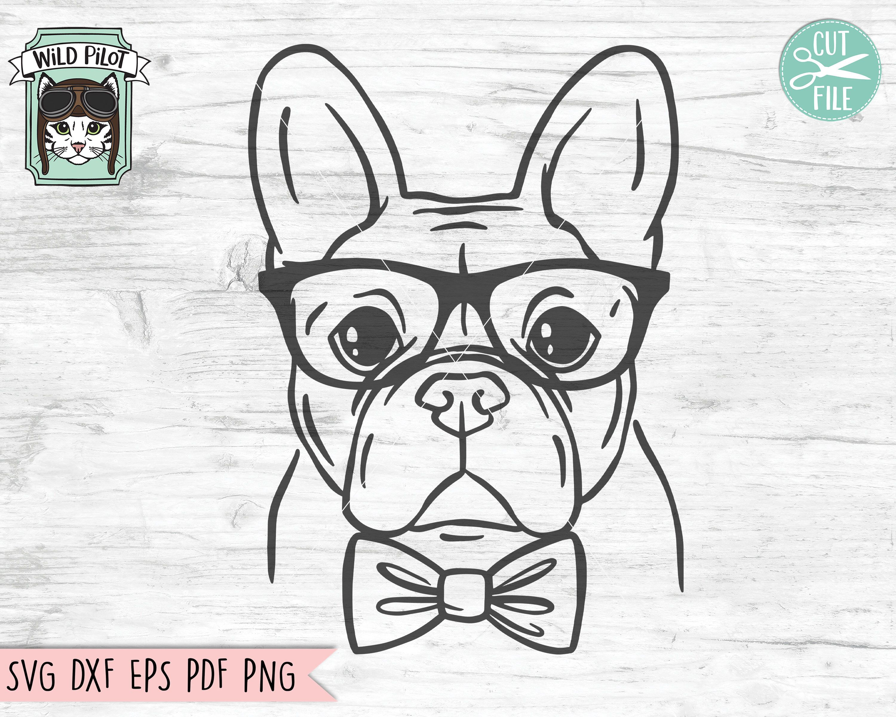 French Bulldog Svg File Frenchie With Glasses Svg Frenchie Etsy In 2020 Dog Bowtie French Bulldog How To Draw Hands