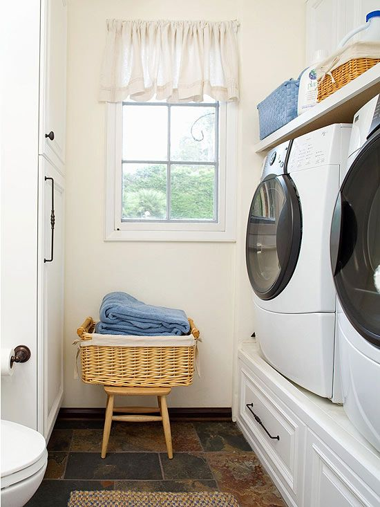 Minimize Bending Front-loading washing machines save on water, but leaning over to load and unload them can be hard on your back. To eliminate that problem, raise the appliances to a comfortable height on cabinetry that also provides drawer storage. Some front-loading models now come with optional 15-inch-tall pedestals that raise them to a comfortable working height.