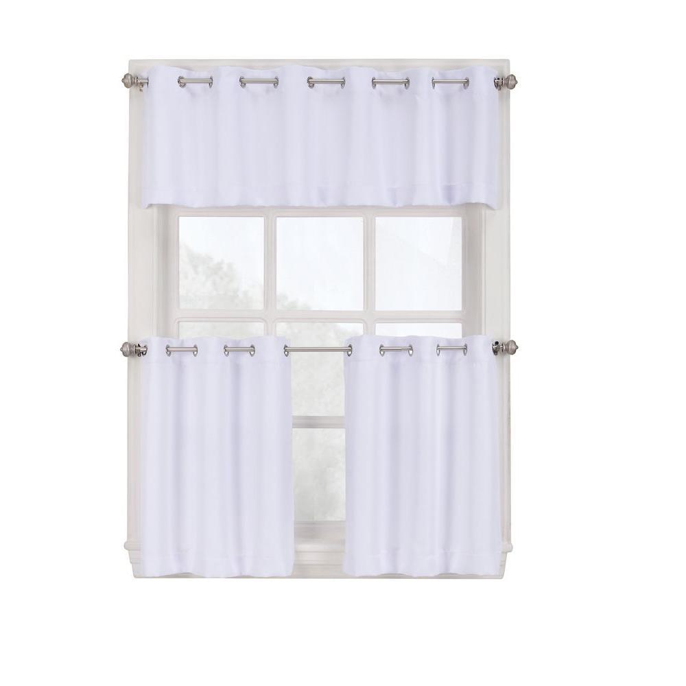 Lichtenberg Semi Opaque White Montego Grommet Kitchen Curtain Tiers 56 In W X 36 In L 38810 Curtains White Kitchen Curtains Grommet Curtains