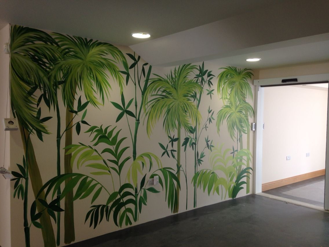 Jungle Palm And Bamboo Mural Hand Painted Jungle Wall Murals In