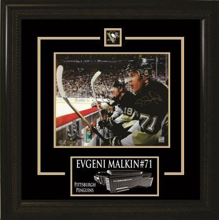 Evgeni Malkin Signed 8 X 10 Etched Mat Penguins On Bench Mats By
