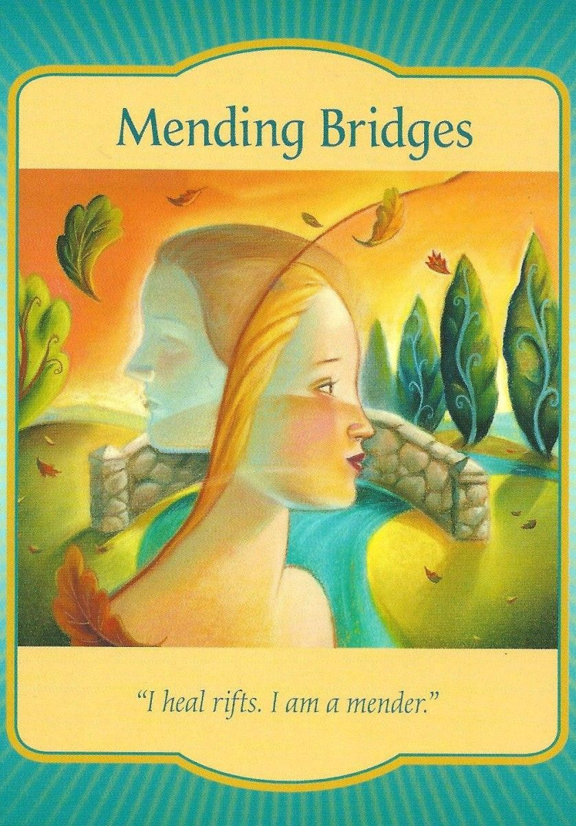 "The ""Mending Bridges"" card from Denise Linn's Gateway Oracle deck was drawn to answer a reader's question about being estranged from family by encouraging her to reconnect with loved ones."