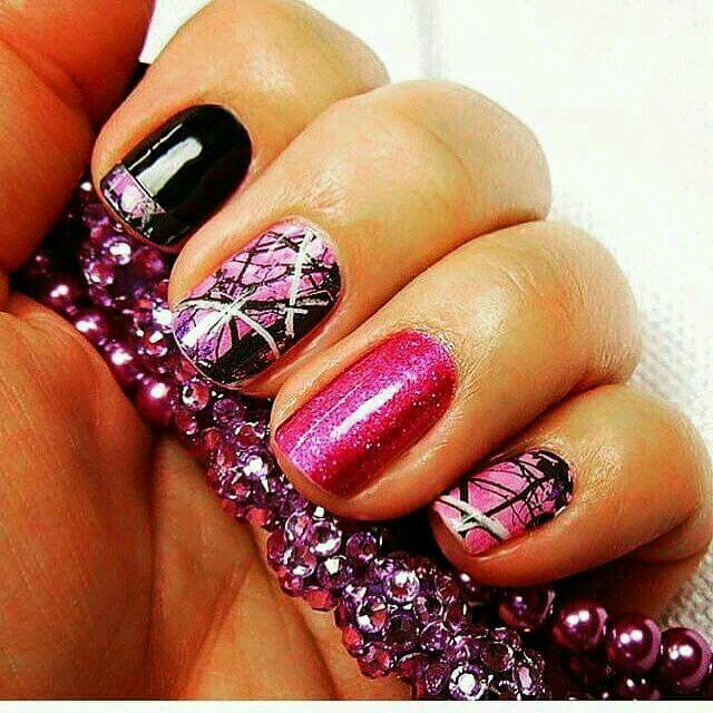 Pinkblack camouflage nail art country girl nail art pinkblack camouflage nail art prinsesfo Images