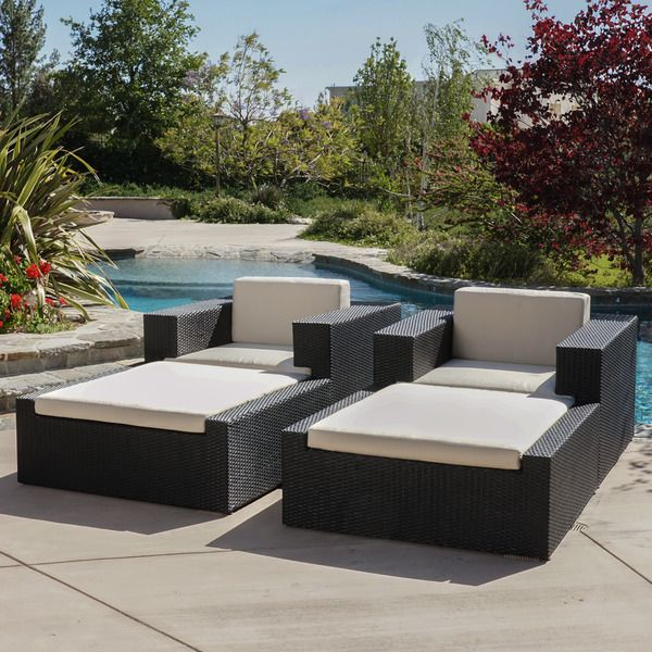 Christopher Knight Home Ventura Outdoor 4 Piece Wicker Lounge Set With  Sunbrella Cushions