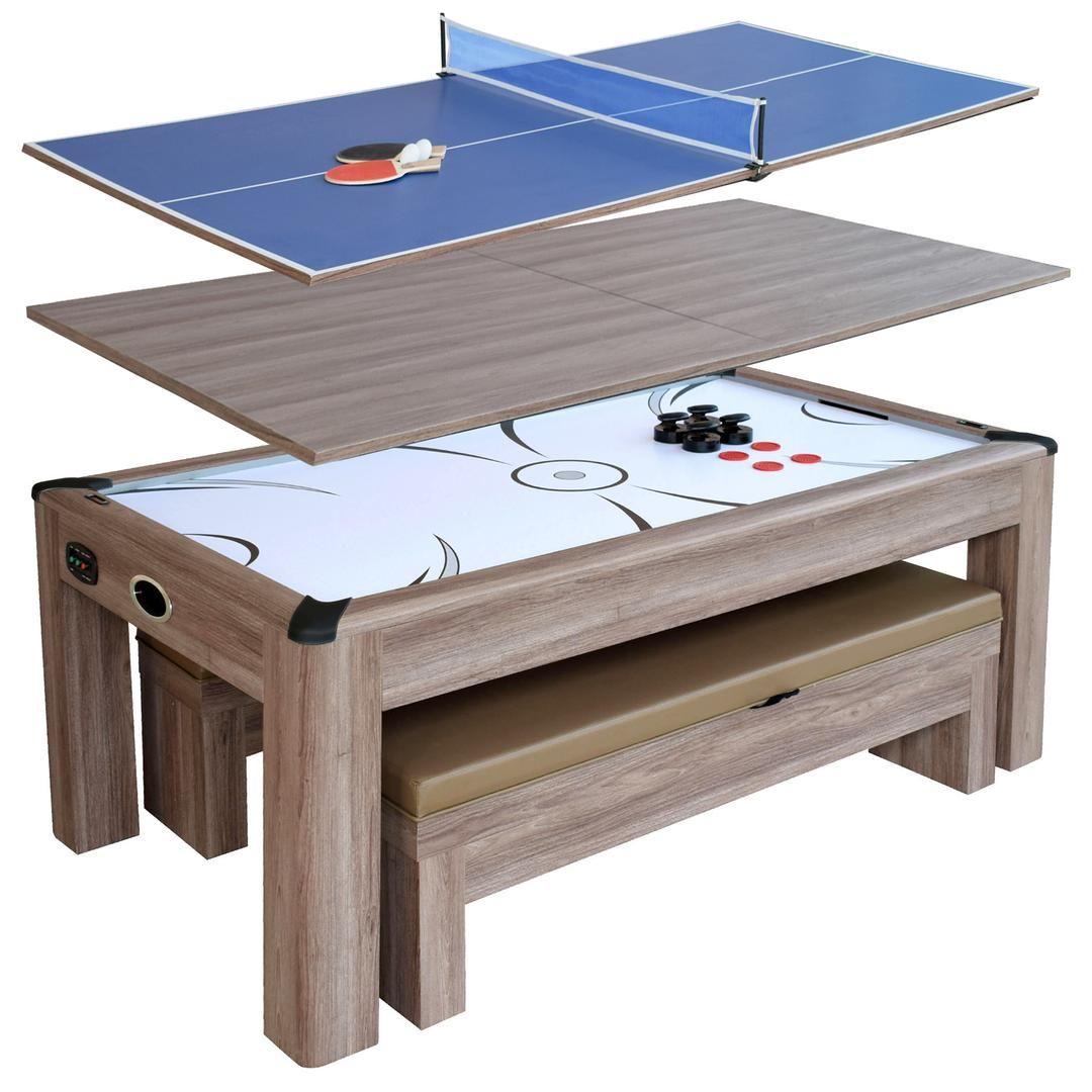 Ng1137h Driftwood 7 Ft Air Hockey Table Combo Set Air