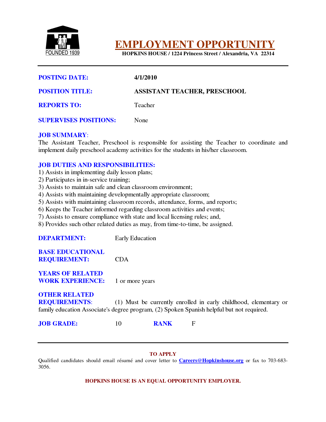 Preschool Assistant Teacher Resume Examples   Google Search  Teachers Aide Resume