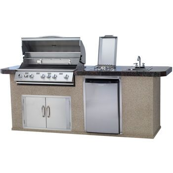 Urban Islands Bbq Island 5 Burner Grill Granite Tile Top By Bull Outdoor Products Outdoor Kitchen Bbq Island Urban Island
