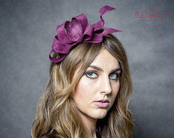 Modern fascinator , burgundy fascinator, maroon original shape fascinator, plum sinamay bow, headpiece, vino color headpiece