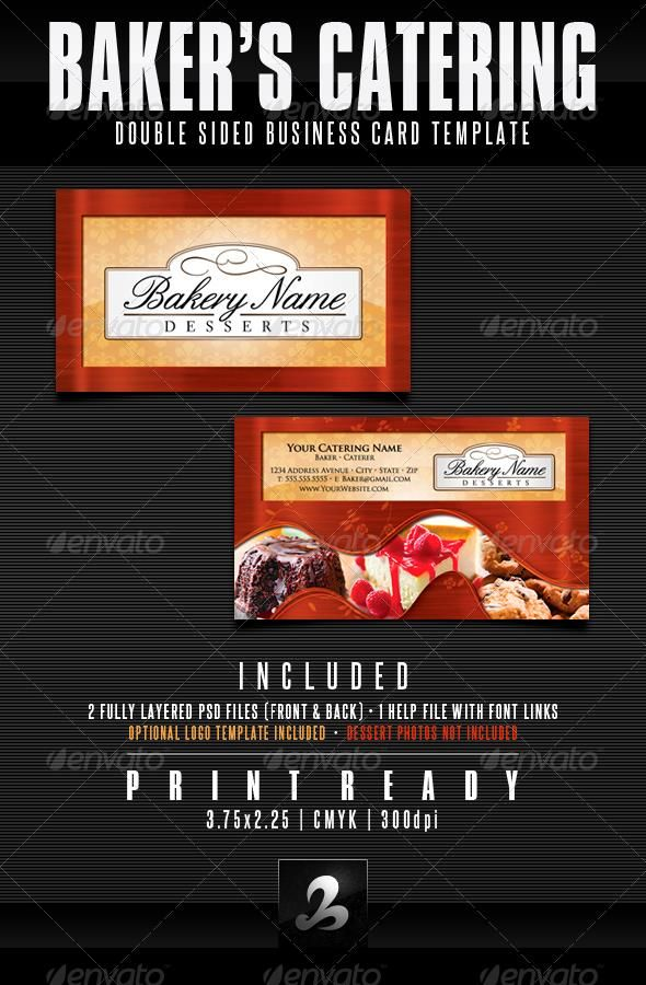 Baker\'s Catering Business Card Templates - UPDATED | Catering ...
