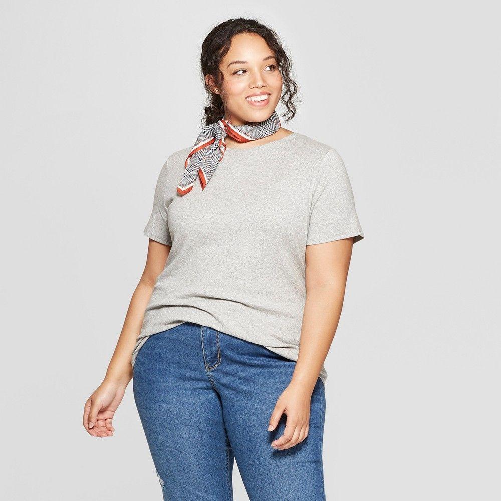 2fcbdebd343 Women s Plus Size Short Sleeve Crew Neck T-Shirt - Ava   Viv Light Gray