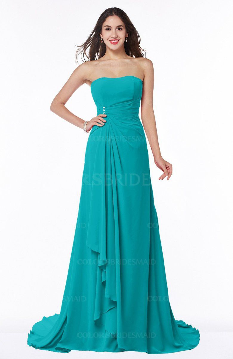 Teal traditional aline strapless lace up chiffon brush train plus