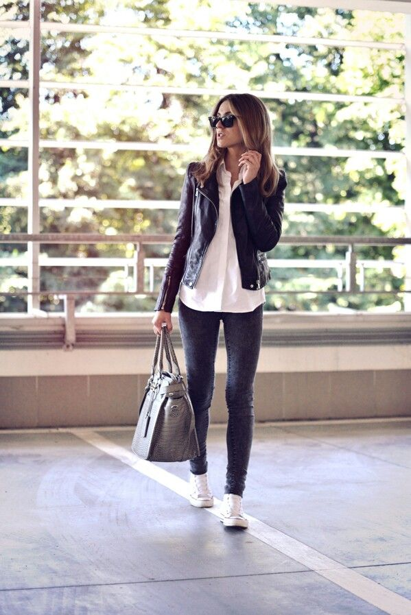 2259e64dd06553 White button-up blouse, gray skinny jeans, white high-top Converse  sneakers, black leather moto jacket
