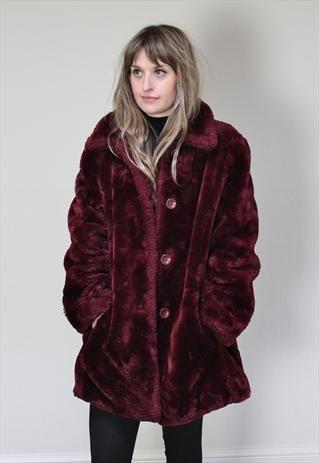 1f1db3909af 90's Burgundy Teddy Bear Faux Fur Coat | Style | Coat, Fur, Fur coat