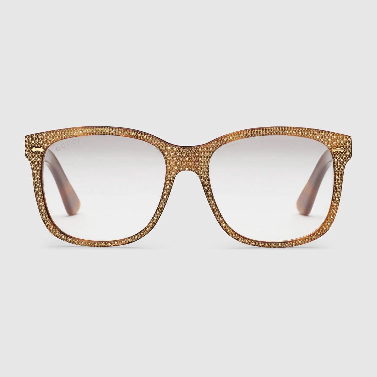 263e62dbea9ff GUCCI Square-Frame Rhinestone Glasses - Tortoiseshell Acetate.  gucci  all