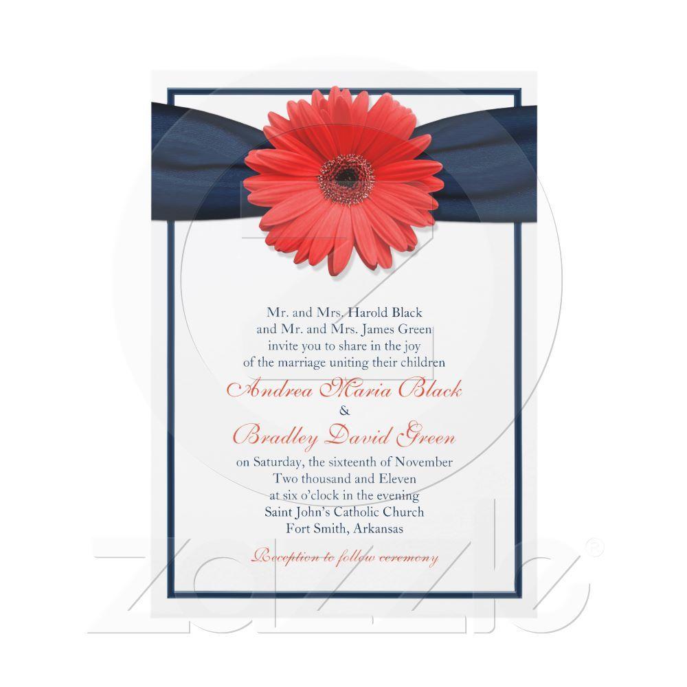 Coral Gerbera Daisy Navy Ribbon Wedding Invitation | Pinterest ...