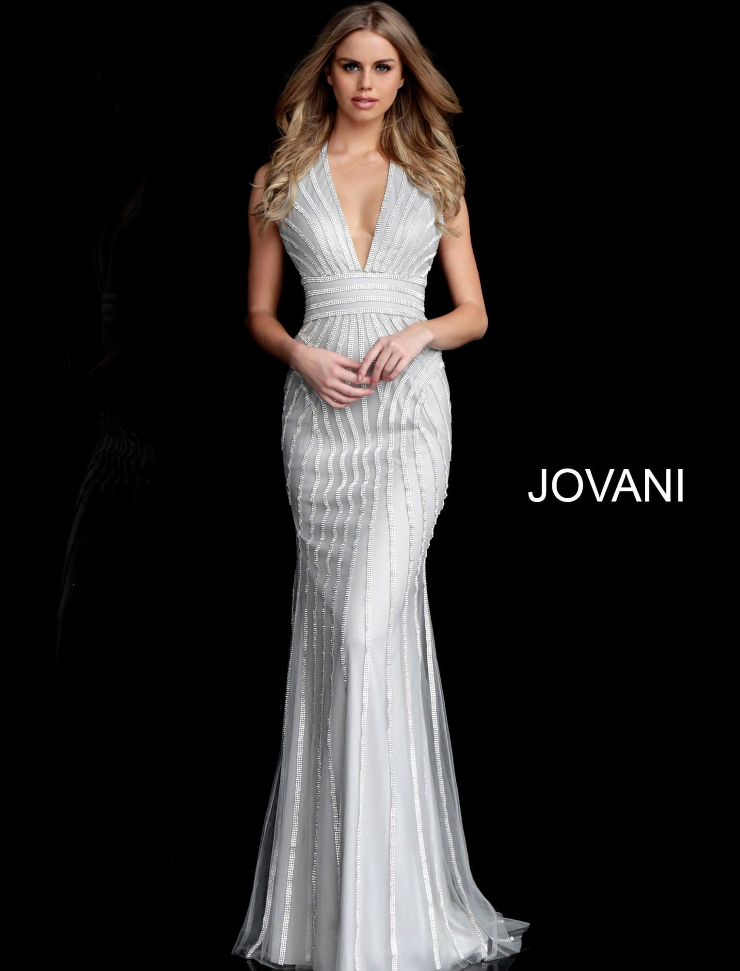 6b843a6f9e68 This Jovani 62292 silver long party dress features a slim-flare silhouette  in tulle over