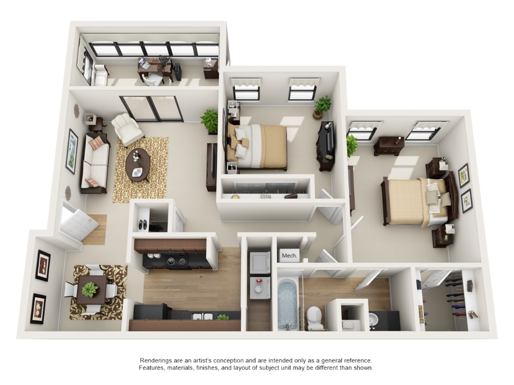 One and Two Bedroom Apartment Floor Plans in 2020 Floor