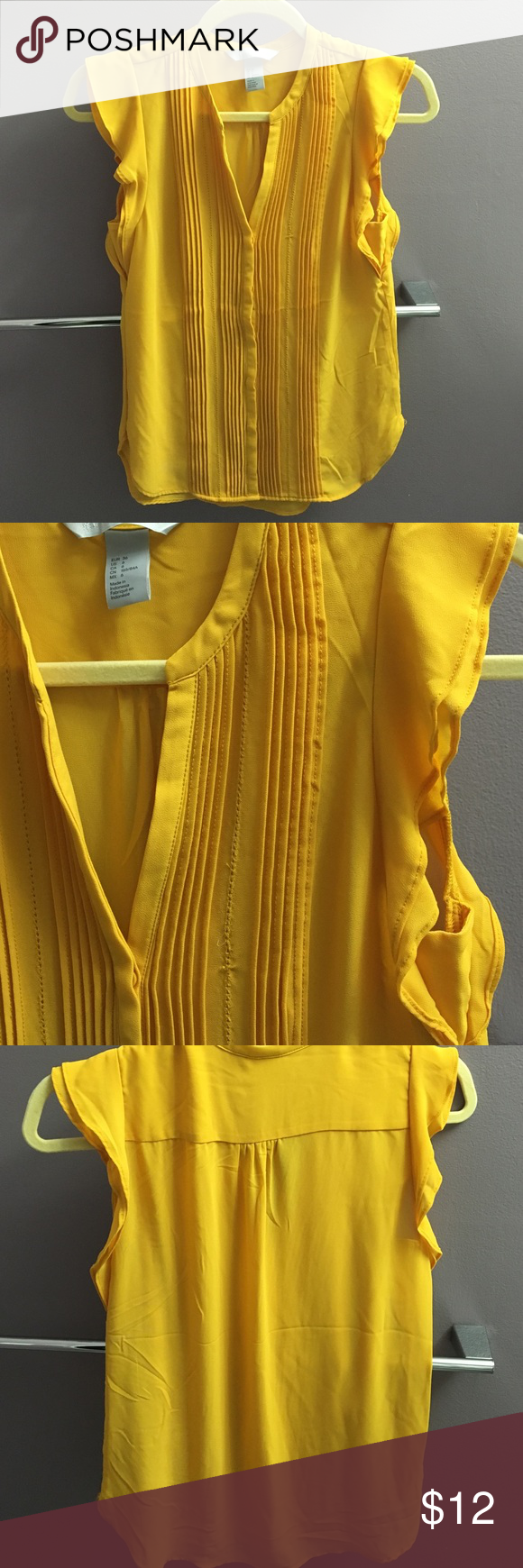 H&M yellow top Dark yellow , worn once (to small on me)-- runs small H&M Tops Blouses