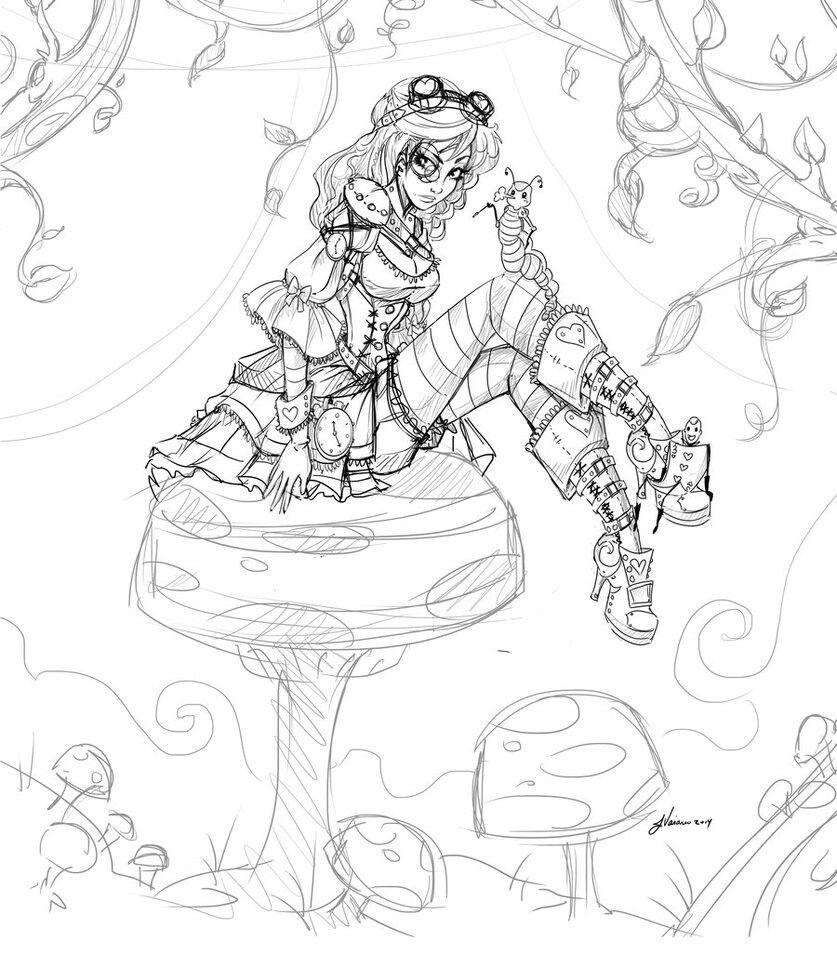 Steampunk Alice Sketch By Noflutter Steampunk Coloring Alice In Wonderland Drawings Steampunk Drawing [ 954 x 837 Pixel ]