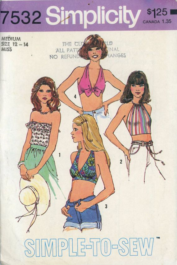403f5fa00ffd8 Simplicity 7532 Misses 1970s Halter Top Pattern Tube Top Bra Top ...