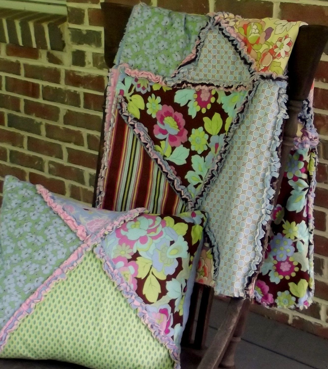 Springtime Gypsy Quilt and Pillow via Etsy.