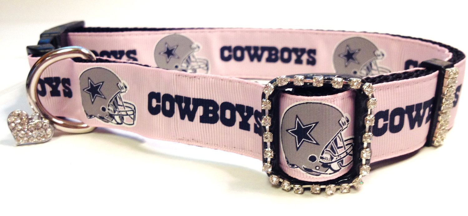 9f578a4ef72 Pink Dallas Cowboys Dog Collar w Rhinestones - Large Dog -- Free Charm.  $21.95, via Etsy.