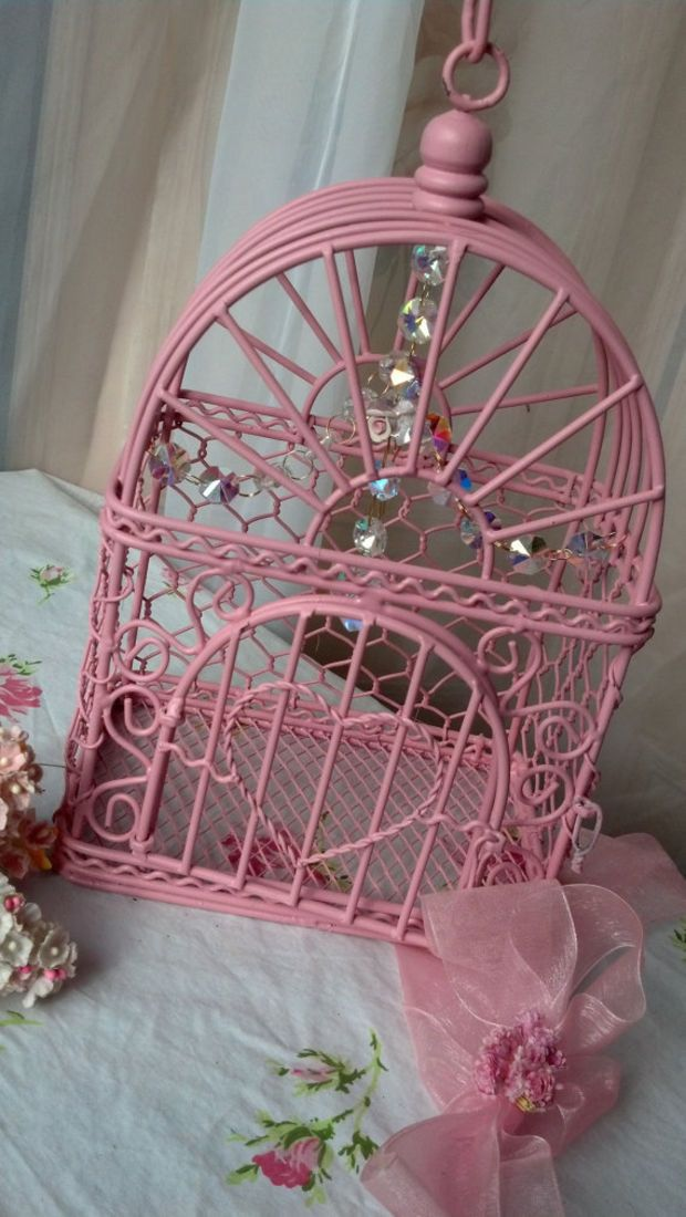 Vintage Pink Birdcage Shabby Chic Chandelier Crystals Pink Roses Farmhouse Style Cottage Home Decor