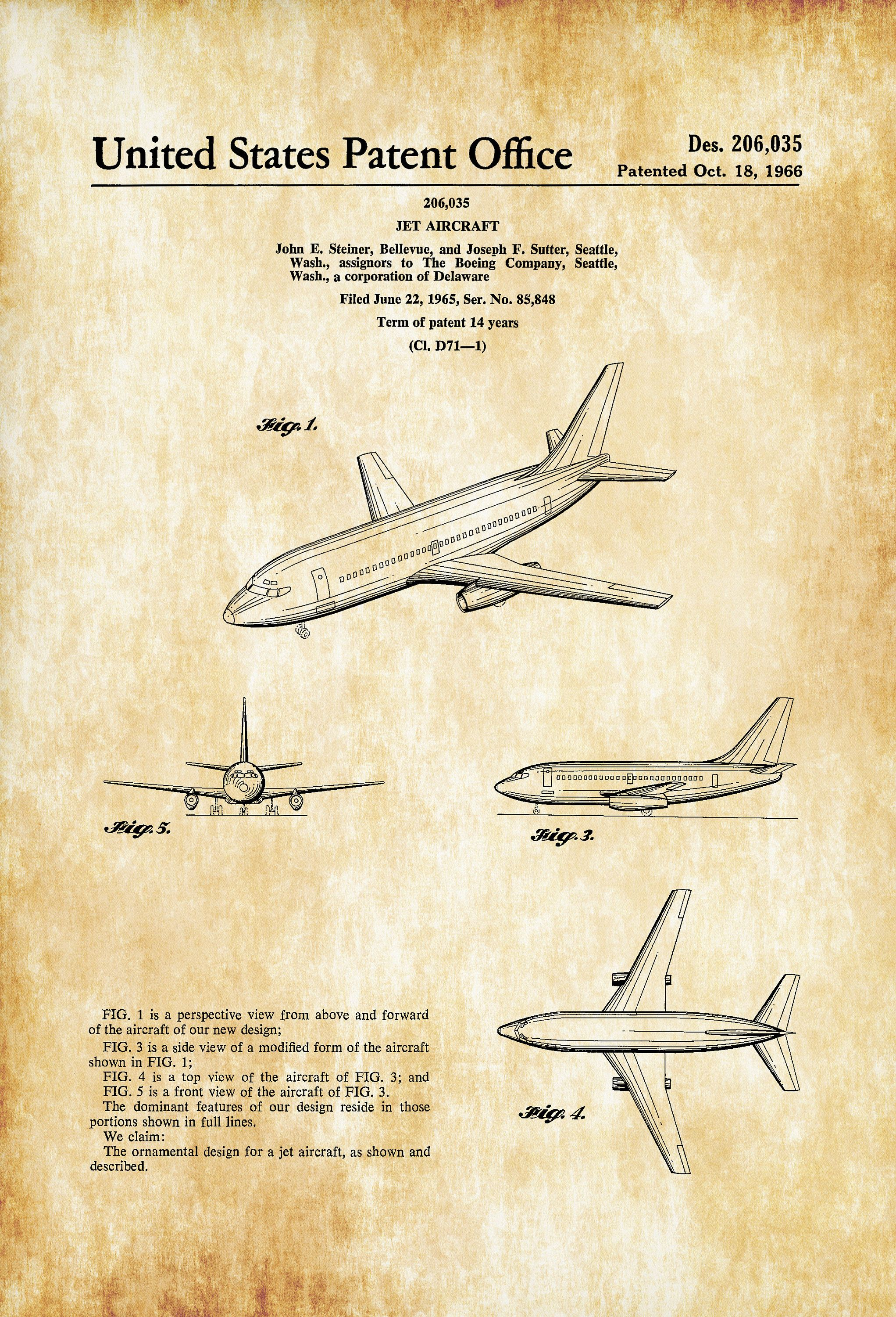 Boeing 737 Patent – Airplane Patent, Airplane Blueprint, Pilot Gift ...