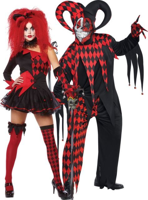 Jester Halloween Costume | Red Jester Couples Costumes Jesterina Krazed Jester Costume