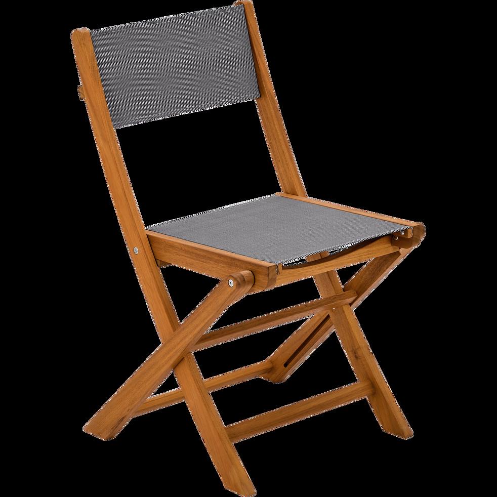 Chaise De Jardin Pliante En Acacia Et Textilene Gris Borgio Chaise De Jardin En 2020 Chaise De Jardin Chaise Pliante Table De Jardin Bois